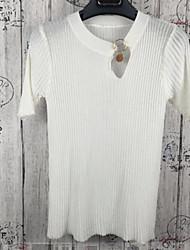 Для женщин На выход На каждый день Секси Очаровательный Уличный стиль Короткий Пуловер Однотонный,Воротник-стойка С короткими рукавами