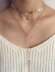 Жен. Слоистые ожерелья Круглый Овальной формы Круглой формы В форме звезды Геометрической формы Бижутерия Сплав По заказу покупателя