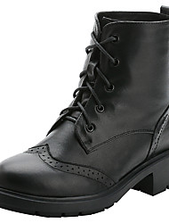Women's Boots Riding Boots Fashion Boots Motorcycle Boots Combat Boots Fall Winter Real Leather Cowhide Casual Outdoor Lace-up Chunky