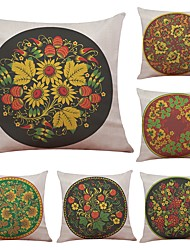 Set of 6 Creative Floral  Style Linen Cushion Cover Home Office Sofa Square Pillow Case Decorative Cushion Covers Pillowcases (18*18Inch)