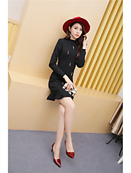 Women's Casual/Daily Bodycon Dress,Solid Round Neck Knee-length Long Sleeve Polyester 100%Cotton Summer Mid Rise Stretchy Medium