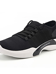 Men's Sneakers Comfort Fall Winter Breathable Mesh Tulle Fabric Walking Shoes Casual Outdoor Lace-up Flat Heel White Black Gray Flat