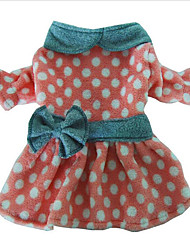 Chien Robe Vêtements pour Chien Décontracté / Quotidien Pois Polka Vert Rose