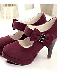 Damen Schuhe PU Frühling Herbst Komfort High Heels Mit Für Normal Schwarz Rot Rosa Mandelfarben