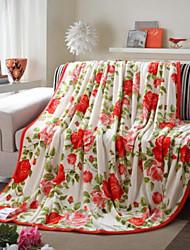Velocino de Coral Floral Outro cobertores