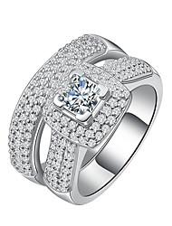 Damen Bandringe Kubikzirkonia Luxus-Schmuck Elegant Sterling Silber Platiert Zirkon Runde Form Schmuck Für Hochzeit Verlobung Zeremonie