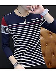 Hombre Simple Casual/Diario Camiseta,Escote en Pico A Rayas Bloques Letra Manga Larga Algodón