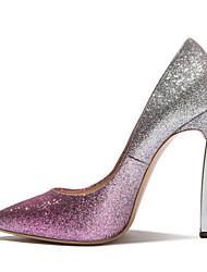 Для женщин Обувь на каблуках Лак Весна Осень Для прогулок На шпильке Золотой Серебряный 7 - 9,5 см