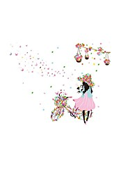 Cycling Girl Beauty Wall Stickers Vine Floral Beautiful FlowersPot Butterfly Wall Decals Home Decor For Baby Kids Room Living Room