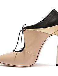 Women's Heels Summer Fall Sheepskin Walking Shoes Lace-up Stiletto Heel Black Almond 3in-3 3/4in