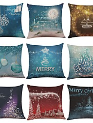 Set of 9 Warm Christmas Series Linen Cushion Cover Home Office Sofa Square Pillow Case Decorative Cushion Covers Pillowcases (18*18)