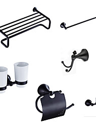 Bathroom Accessory Set Towel Bar Toilet Paper Holder Robe Hook  Soap Dish  Shower Basket Oil Rubbed Bronze 01
