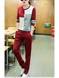 Sweat à capuche Pantalon Costumes Femme,Couleur Mélangée Sports simple Printemps Automne Manches longues Col Arrondi