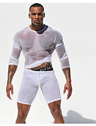 Men's Cool Fashion T-Shirt Long Sleeve Mesh Muscle Fit Through Net Yarn Shirt