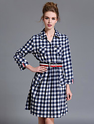Women's Casual/Daily A Line Dress,Floral Check Shirt Collar Above Knee Long Sleeves Polyester Spring Fall Mid Rise Inelastic Medium