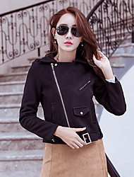 Women's Casual/Daily Simple Spring Jacket,Solid Shawl Lapel Long Sleeve Short Calfskin