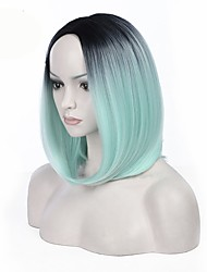 средняя часть ombre mint зеленый цвет bobo прямые волосы европейские синтетические парики для черных женщин парик