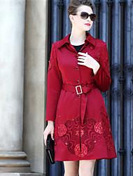 Dámské Jednobarevné Tisk Běžné/Denní Sofistikované Kabát-Podzim Zima Bavlna Polyester Košilový límec Dlouhý rukáv Standardní