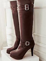 Women's Boots Comfort PU Fall Winter Casual Comfort Brown Black 4in-4 3/4in