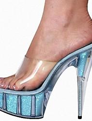 Mujer Sandalias Zapatos formales Encaje PVC Verano Vestido Fiesta y Noche Cristal Pajarita Flor Tacón StilettoNegro Plata Fucsia Azul