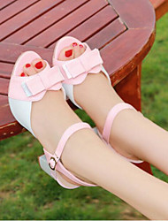 Women's Sandals Comfort PU Summer Casual Comfort Blushing Pink Blue 1in-1 3/4in