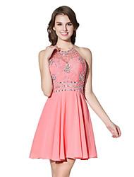 Princess Halter Short / Mini Chiffon Cocktail Party Dress with Beading