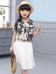 Girls' Print Sets,Cotton Linen Summer Fall Half Sleeve Clothing Set