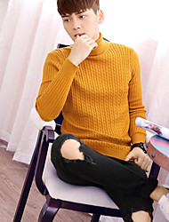 Men's Going out Casual/Daily Sexy Simple Regular Pullover,Solid Turtleneck Long Sleeves Cotton Fall Winter Thick Micro-elastic