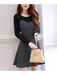 Women's Casual/Daily A Line Bodycon Loose Dress,Solid Polka Dot Striped Round Neck Knee-length Long Sleeves Silk Cotton Acrylic SummerMid