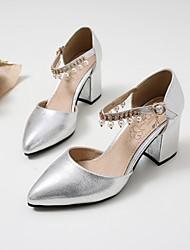 Femme Chaussures à Talons Confort Polyuréthane Eté Décontracté Gros Talon Noir Argent 5 à 7 cm