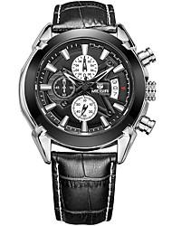 MEGIR Hombre Reloj Deportivo Reloj de Moda Reloj de Pulsera Reloj creativo único Reloj Casual Reloj Madera Cuarzo CalendarioCuero