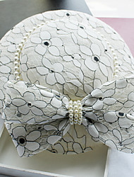 Imitation Pearl Lace Fabric Silk Net leather Headpiece-Wedding Special Occasion Birthday Party/ Evening Fascinators Hats 1 Piece