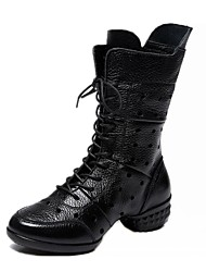 Non Customizable Women's Dance Shoes Hollow Nappa Leather Modern / Dance Boots / Boots / Split Sole Low Heel Black/Red
