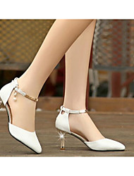 Women's Shoes Synthetic Microfiber PU Summer Comfort Heels For Casual White Black