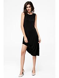 Moulante Robe Femme Soirée Couleur Pleine Col Ras du Cou Asymétrique Sans Manches Modal Eté Taille Normale Elastique Fin