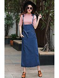 Women's Casual/Daily Denim Dress,Solid Strap Maxi Sleeveless Cotton Spring High Rise Inelastic Medium
