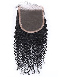 4x4kinky curly lace front closure remy human hair closure baby hair 8-20inch