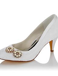 Feminino Sapatos De Casamento Conforto Renda Cetim Outono Inverno Casamento Social Festas & Noite Pérolas Sintéticas Salto Cone Branco5 a
