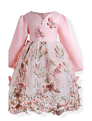 Girl's Birthday Going out Floral Dress,Cotton Polyester Fall All Seasons Long Sleeve