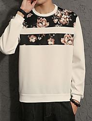 Men's Plus Size Casual Round Neck Floral Stitching Sweatshirt  Cotton Spandex