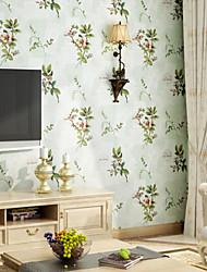 Цветочный принт Обои Для дома модерн Облицовка стен , Чистая бумага материал Клей требуется обои , Обои для дома