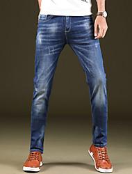 Men's Mid Rise Micro-elastic Skinny Jeans PantsSimple Slim Solid DC-9003