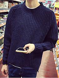 Для мужчин На каждый день Простое Обычный Пуловер Однотонный,Круглый вырез Длинный рукав Нейлон Весна Средняя Слабоэластичная