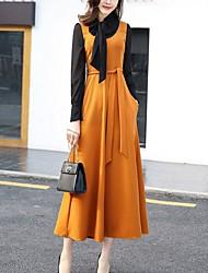 Для женщин На каждый день Большие размеры Уличный стиль Оболочка С летящей юбкой Платье Контрастных цветов,Воротник-стойка Средней длины