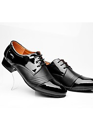 "Men's Latin Real Leather Oxford Indoor Splicing Chunky Heel Black 1"" - 1 3/4"""
