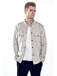 Men's Going out Casual/Daily Simple Fall Winter Jacket,Solid Stand Long Sleeve Regular Nylon