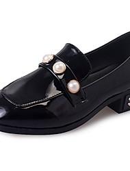 Для женщин Мокасины и Свитер Удобная обувь Осень Полиуретан Для праздника На низком каблуке Черный 7 - 9,5 см