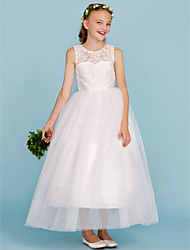 Ball Gown Jewel Neck Ankle Length Lace Tulle Junior Bridesmaid Dress with Pleats by LAN TING BRIDE®
