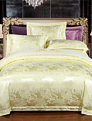 Light yellow Luxury Silk Cotton Blend Duvet Cover Sets Queen King Size Bedding Set