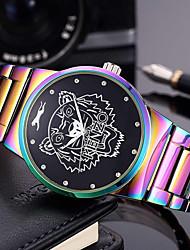 Homens Mulheres Relógio de Moda Relógio de Pulso Bracele Relógio Chinês Quartzo Punk Mostrador Grande Aço Inoxidável Banda Arco-Íris